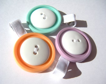 Colorful Button Hair Clip Set - White and Pastel Hair Clips - No Slip Grip Clip