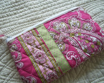 Pink & Green Quilted Cosmetic Bag