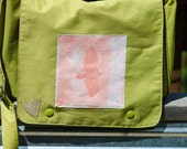 upcycled messenger bag - orange eagle photo - gold sparkly heart - casual purse/mini diaper bag