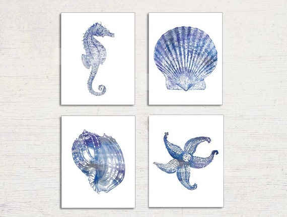Nautical Art Set Of 4 Prints Navy Blue White Seahorse Print