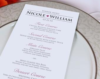 Wedding Reception Dinner Menu - Modern, Heart - Personalized Wedding Menu Card - Custom Colors Available