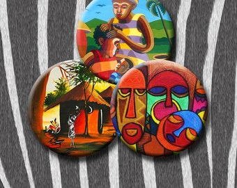AFRICAN BEAT II - Digital Collage Sheet 1.5 inch circles - pendants, round bezels, decoupage, scrap-booking etc. Instant Download #84-1.
