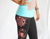 Chakras Yoga Leggings - Fire blend screen print on American Apparel Cotton Spandex Sacred Geometry Legging. Sri Yantra, lotus flower, waves.