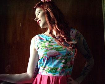 Pink Flamingos Dress, Cotton Printed Dress, Pink Summer Dress, Nature Print, Made to Order