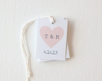 Wedding favor tags - heart tags - custom bridal shower tags - party favor tags