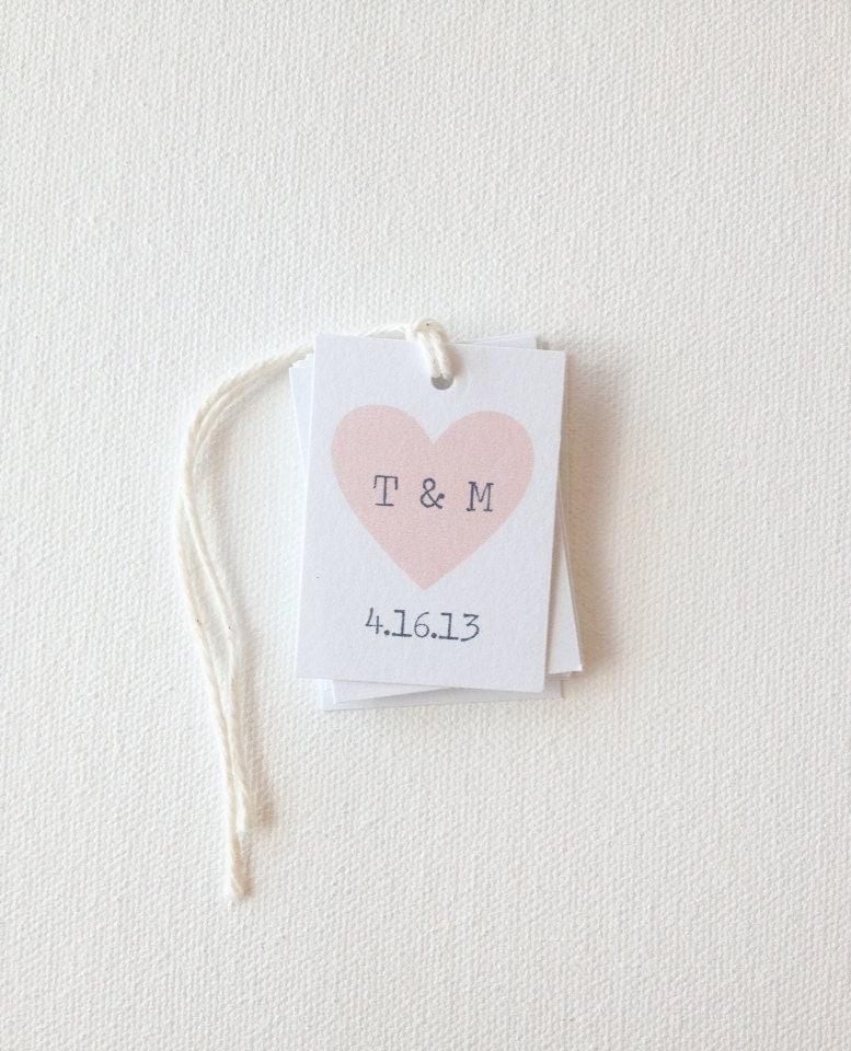 Handmade Wedding Gift Tags : Wedding favor tags heart tags custom bridal by PrintSmitten