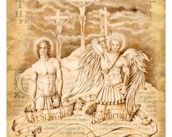 Saint Sebastian Angel Figure drawing - limited edition print