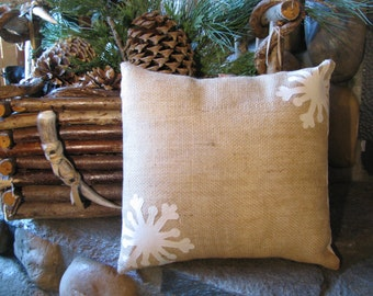 Burlap Christmas Pillow with Muslin Snow Flakes