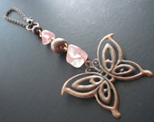 Rear View Mirror Charm- Butterfly- Copper- Wood- Cherry Quartz- Pink- Peach- Brown- Window Charm- Crystal Healing- Spring- Summer- Gift