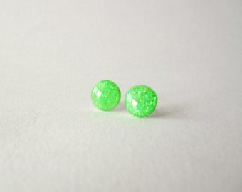 Lime green round post earrings- Neon green studs- Modern summer jewelry