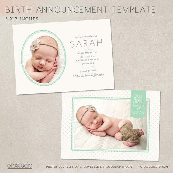 items similar to birth announcement card template dotted frame cb013 psd instant download on