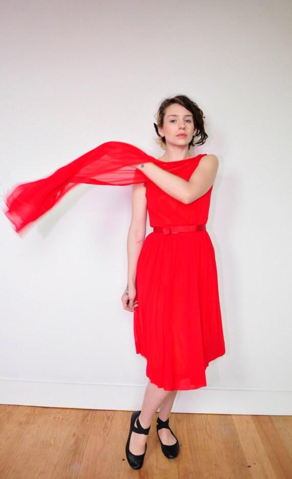 Vintage 1950's Red dress Mad men Audrey Horne