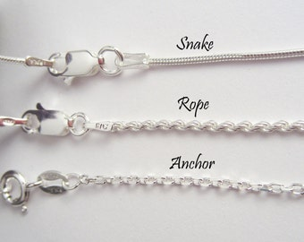 925 Sterling Silver Chain - Anchor, Rope and Snake Chains - 16 to 30 inches - Finished Chain