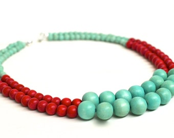 red bead necklace / mint green and red necklace / turquoise and red necklace / beaded necklaces / mint and red wedding / red beaded necklace