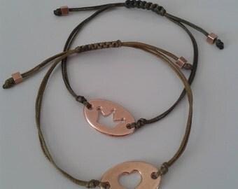 Rose Gold Friendship Bracelets - Crown Bracelets - Adjustable Bracelets - Delicate Dainty Bracelets - Wedding Gift