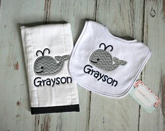 Personalized Gray Chevron Whale Burp Cloth and Bib Set