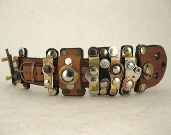 142 Burning Man Steampunk Palimpsest Industrial Bracelet Recycled Jewelry Wabi Sabi
