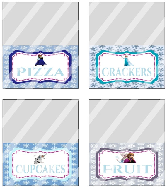 Disney Frozen Birthday Party Food Tent Card By KrittsKreations