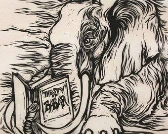 Erudite Elephant, original hand-pulled linocut relief print on Thai Kozo paper