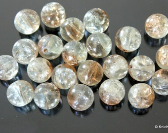 12mm Brown And Clear Two Tone Crackle Glass Beads x 10