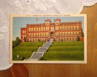Vintage Postcard, Science Hill High School, Johnson City, Tennessee - 1940s Linen Paper Ephemera
