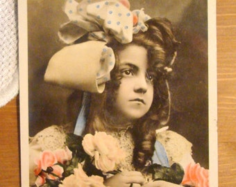 Antique Postcard - Young Edwardian Girl Birthday Card - Early 1900s Paper Ephemera