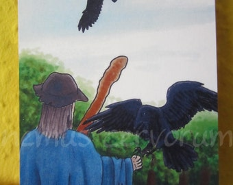 """Hugin Munin ACEO art card print 2,5""""x3,5"""" 6,4x8,9cm collector card """"thought and memory"""" #40"""