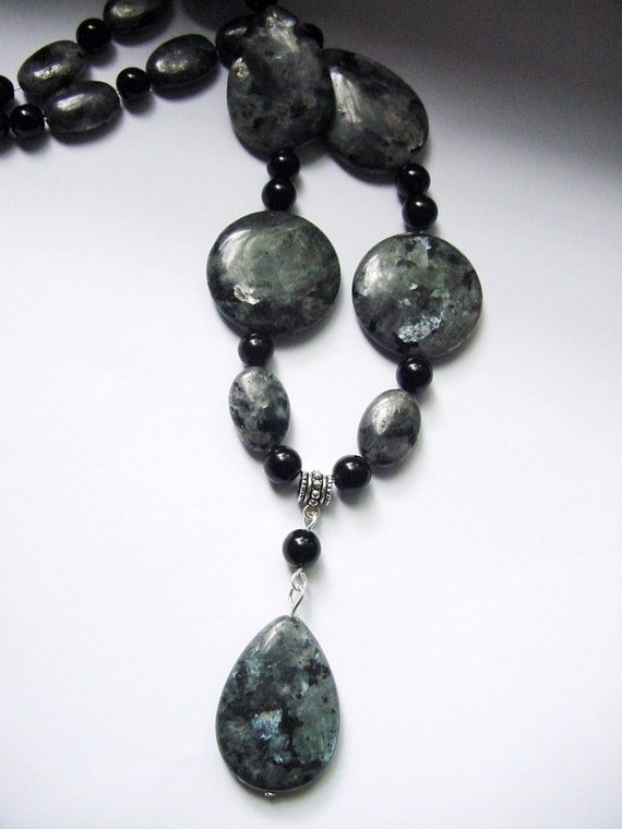 Black Labradorite Larvikite Necklace Black Moonstone Stone of
