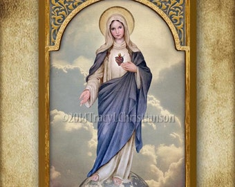 The Immaculate Heart of Mary (full body), Boxed Plaque & Holy Card GIFT SET #1022