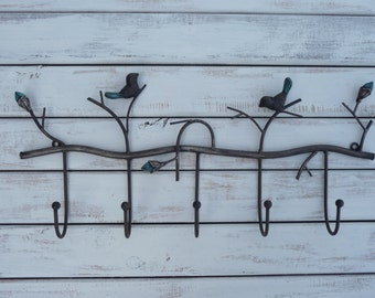 Tree Branch with Birds Wall Hook - Metal - Ornate Hanger - Key Holder - Bathroom - Bedroom - Laundry