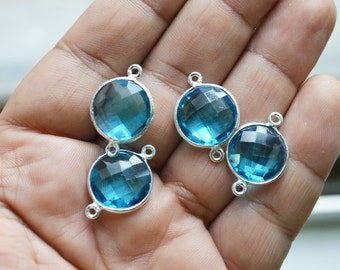 92.5 Silver Plated Swiss Blue Quartz coin Faceted Pendant  ,4 Piece of 15 mm
