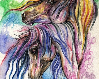 Two rainbow colored horses original pen and watercolor pencils painting