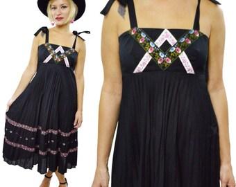 Vintage 80s Young Edwardian by Arpeja Boho Gypsy Floral Empire Waist Sundress Prairie Dress