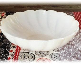 Vintage Scalloped Milk Glass Bowl