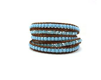 Blue Czech bead wrap bracelet on brown leather