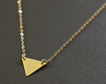 Gold Triangle Necklace - 14K Gold Filled Chain
