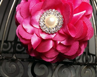 Hot pink hair flower, flower hair clip, girls hot pink hair flower, hot pink satin flower with rhinestone and pearl center, hair accessory