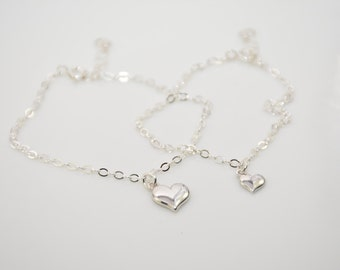 Mother daughter anklet set, Sterling silver heart anklet, Tiny heart anklet