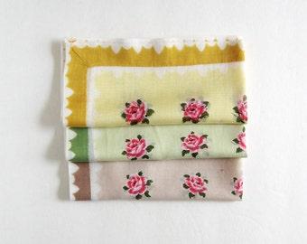 Vintage Handkerchief - Yellow Flower Print Cotton Hankie Pink Rose Print - Scalloped Edge - Cotton Handkerchief - Floral Print Cotton Hanky