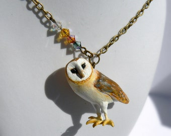 Barn Owl necklace - polymer clay - handmade