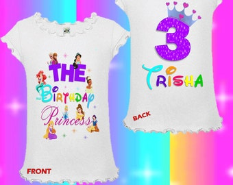Disney Princess Birthday Shirt - Front and Back - Disney Princesses Birthday Shirt