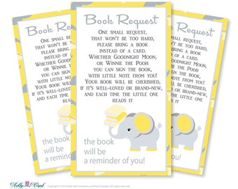 Gender Reveal Elephant Book Request Baby Shower Printable DIY Tickets, Book  Instead Of Card,
