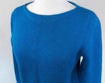 Vintage 80's blue wool sweater, medium