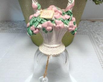 Vintage Avon Basket of Hearts Lead Crystal Bell - 1994