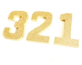 Custom Gold Glitter Numbers - Glitter Numbers, Custom Ornament Numbers,  Wedding decor, Freestanding Numbers, Paper Mache Numbers
