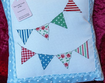 Cross Stitched Bunting Cushion