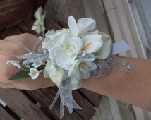 White and Silver Real Touch Silk Wrist Corsage and Boutonniere Combination / Wedding Corsage and Boutonniere / Prom Corsage and Boutonniere