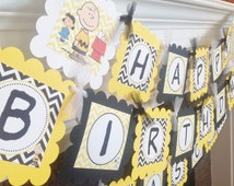 Happy Birthday Charlie Brown & Peanut Gang Inspired - Black Yellow Chevron with White accents - Party Packs Available