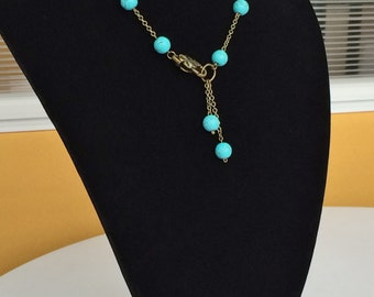 Turquoise Beads Antique Bronze Boho Rustic Necklace N111