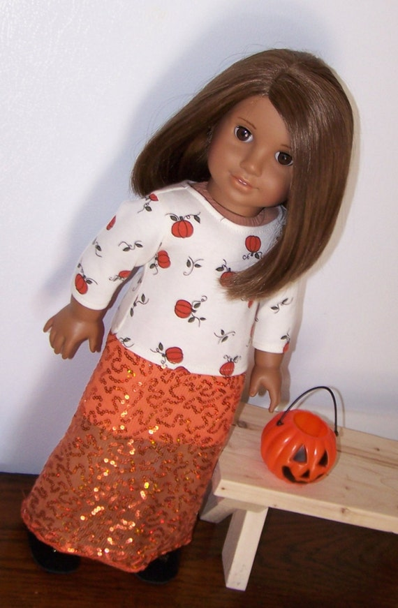 American Girl Pumpkin Harvest T Shirt and Sequined Sheer Maxi Skirt